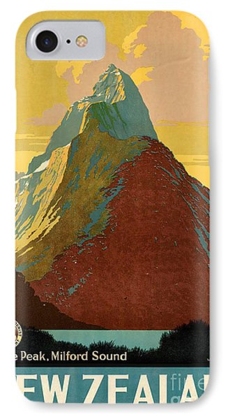 Vintage New Zealand Travel Poster IPhone Case by George Pedro