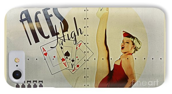 Vintage Nose Art Aces High IPhone Case by Cinema Photography