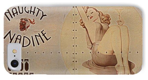 Vintage Nose Art Naughty Nadine Phone Case by Cinema Photography