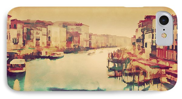 Vintage Painting Of Venice, Italy. Gondola Floats On Grand Canal IPhone Case by Michal Bednarek