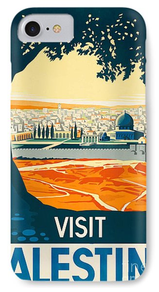 Vintage Palestine Travel Poster IPhone Case by George Pedro