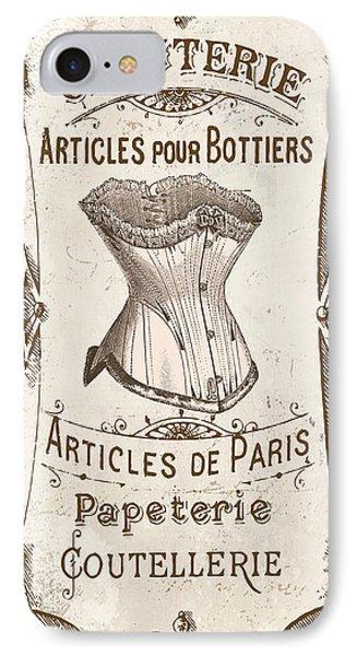 Vintage Paris Corsette Sign IPhone Case by Mindy Sommers