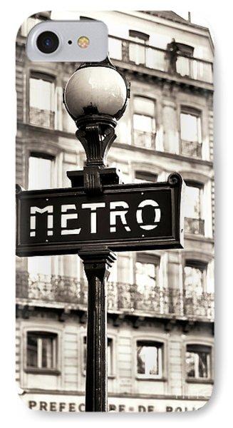 Vintage Paris Metro Phone Case by John Rizzuto