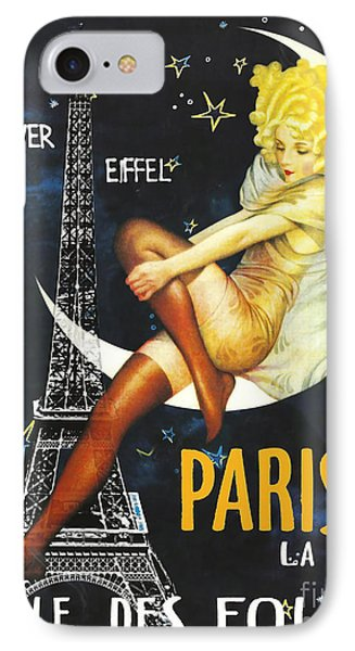 Vintage Paris Moon IPhone Case by Mindy Sommers