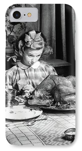Vintage Photo Depicting Thanksgiving Dinner IPhone Case by American School