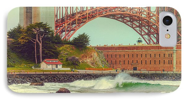 Vintage Photograph Of Fort Point And Golden Gate Bridge - San Francisco California IPhone Case by Silvio Ligutti