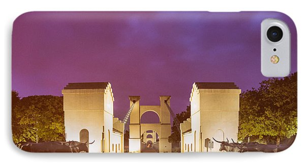 Vintage Photograph Of The Waco Suspension Bridge And Chisholm Trail At Dawn - Downtown Waco - Texas IPhone Case by Silvio Ligutti