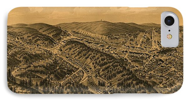 Vintage Pictorial Map Of Hot Springs Ar - 1888 IPhone Case