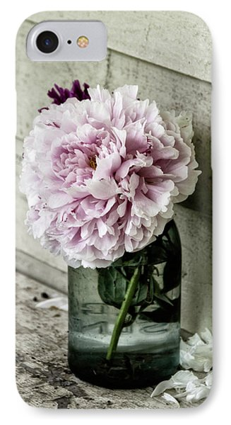 IPhone Case featuring the photograph Vintage Pink Peony In Ball Jar by Julie Palencia