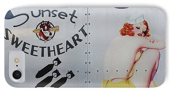 Vintage Pinup Nose Art Sunset Sweetheart Phone Case by Cinema Photography