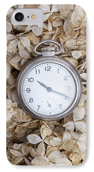 IPhone Case featuring the photograph Vintage Pocket Watch Over Dried Flowers by Edward Fielding