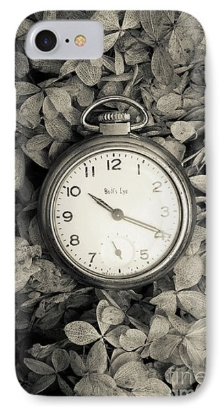IPhone Case featuring the photograph Vintage Pocket Watch Over Flowers by Edward Fielding