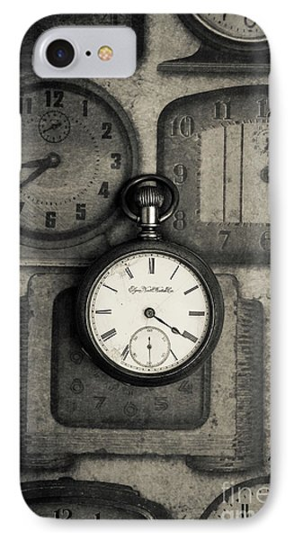 IPhone Case featuring the photograph Vintage Pocket Watch Over Old Clocks by Edward Fielding