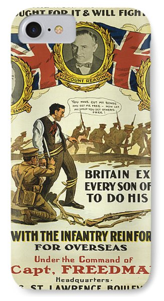 Vintage Poster - British Recruiting IPhone Case by Vintage Images