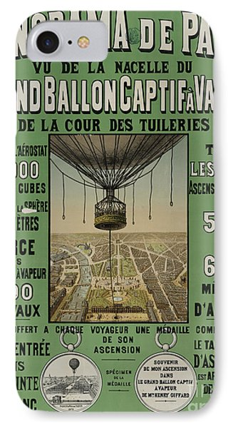 IPhone Case featuring the photograph Vintage Poster Of Great Balloon View Of Paris 1878 by John Stephens