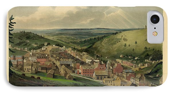 IPhone Case featuring the photograph Vintage Pottsville Pennsylvania Etching With Remarque by John Stephens