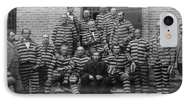 Vintage Prisoners In Striped Uniforms - 1889 IPhone Case
