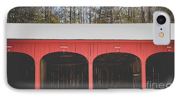 IPhone Case featuring the photograph Vintage Red Carriage Barn Lyme by Edward Fielding