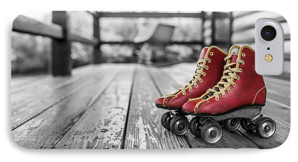 Vintage Red Roller Skates IPhone Case by Edward Fielding