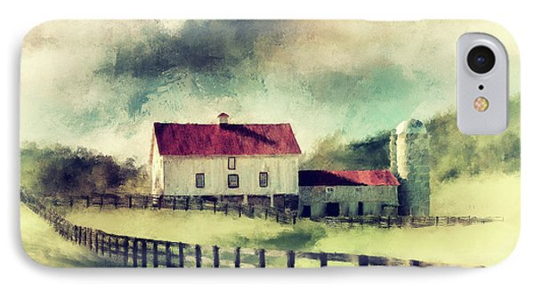 IPhone Case featuring the digital art Vintage Red Roof Barn by Lois Bryan