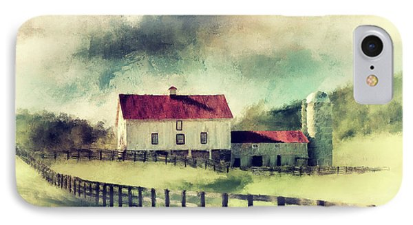 Vintage Red Roof Barn IPhone Case by Lois Bryan