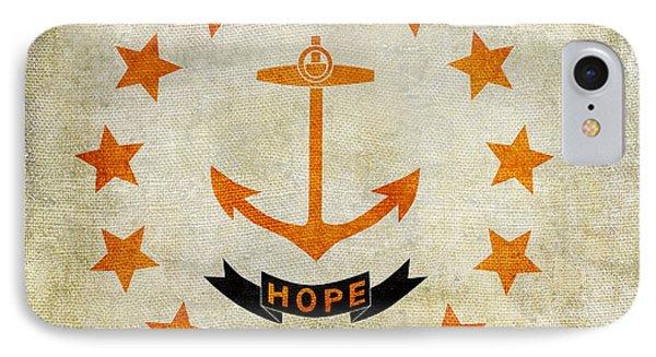 Vintage Rhode Island Flag 2 IPhone Case by Jon Neidert