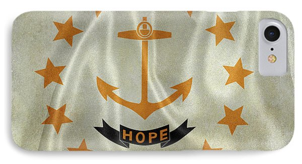 Vintage Rhode Island Flag On Silk IPhone Case by Jon Neidert