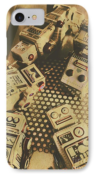 Vintage Robot Charging Zone IPhone Case by Jorgo Photography - Wall Art Gallery