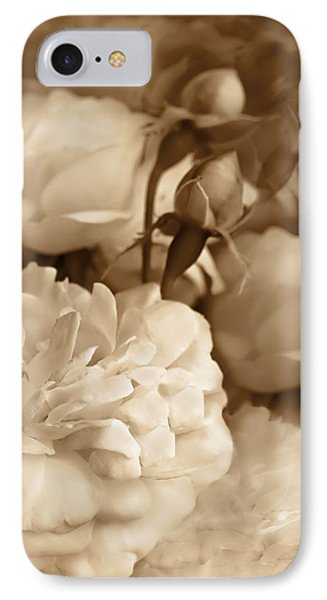 Vintage Roses Bouquet In Sepia IPhone Case by Jennie Marie Schell