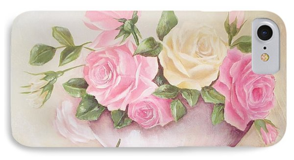Vintage Roses Shabby Chic Roses Painting Print IPhone Case by Chris Hobel