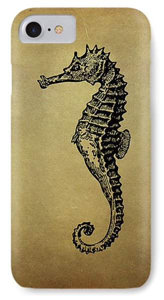 Vintage Seahorse Illustration IPhone Case by Peggy Collins