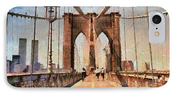 Vintage Shot Of Brooklyn Bridge With Twin Towers IPhone Case by Nishanth Gopinathan