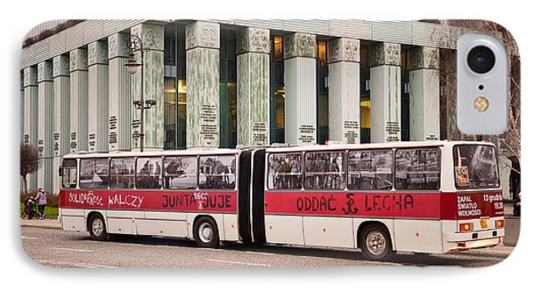 Vintage Solidarnosc Bus On Street IPhone Case by Arletta Cwalina