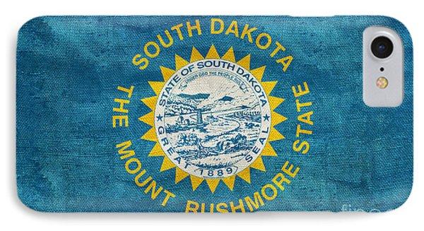 Vintage South Dakota Flag IPhone Case by Jon Neidert