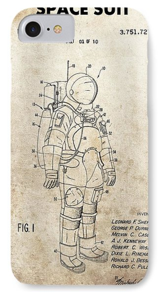 Vintage Space Suit Patent IPhone Case by Dan Sproul