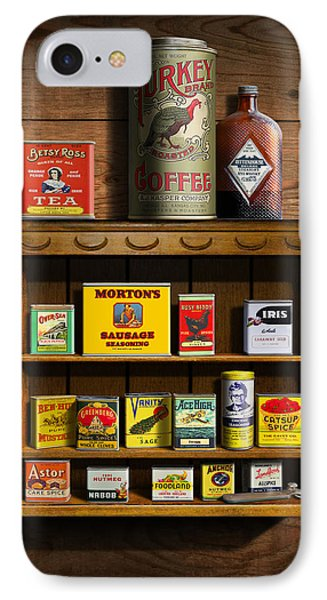 Vintage Spice Tins 2 - Nostalgic Spice Rack - Americana Kitchen Art Decor  IPhone Case by Walt Curlee