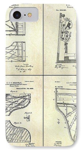 Vintage Steinway 4 Panel Patent Art IPhone Case