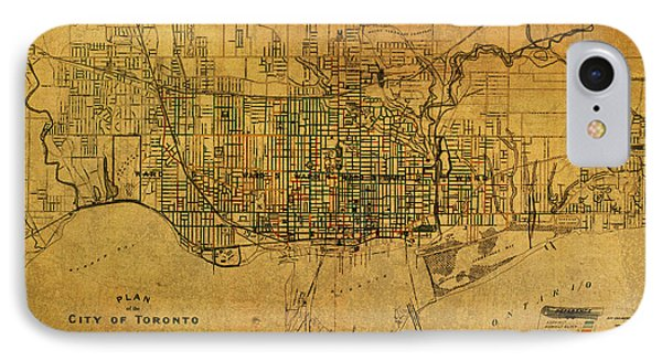 Vintage Street Map Of Toronto Canada Circa 1907 On Worn Distressed Parchment IPhone Case