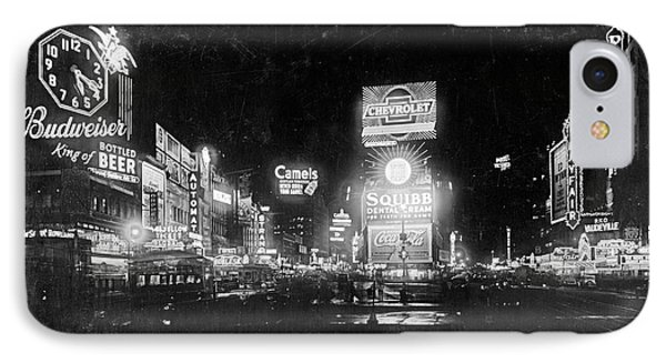 IPhone Case featuring the photograph Vintage Times Square At Night Black And White by John Stephens