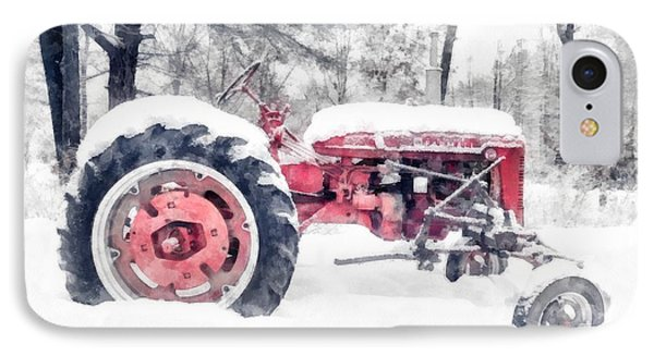 Vintage Tractor Christmas IPhone Case by Edward Fielding