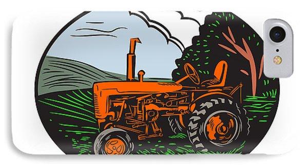 Vintage Tractor Farm Woodcut IPhone Case