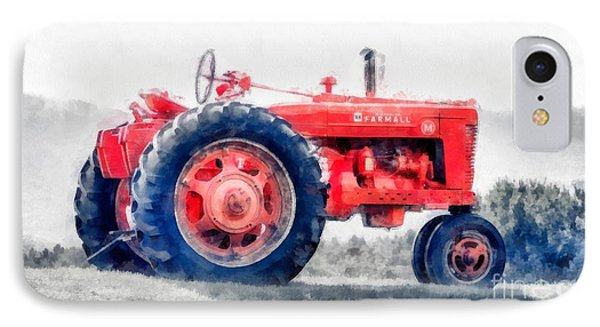 Vintage Tractor Watercolor IPhone Case by Edward Fielding