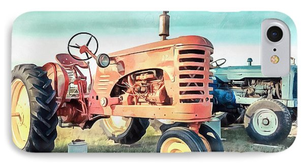 Vintage Tractors Acrylic IPhone Case by Edward Fielding