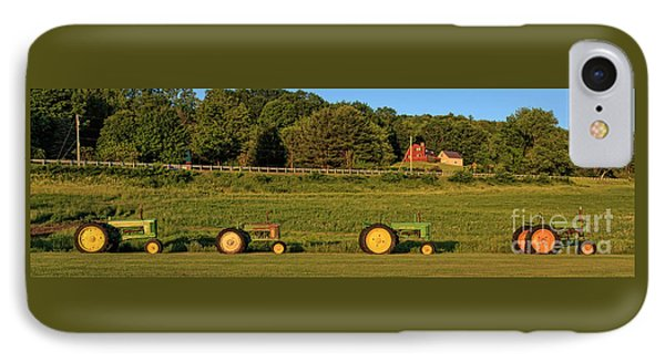 Vintage Tractors Sunset Panoramic IPhone Case by Edward Fielding