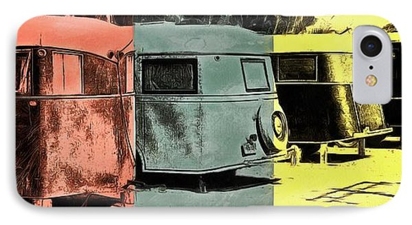 IPhone Case featuring the painting Sarasota Series Vintage Trailer Park Pop Art by Edward Fielding