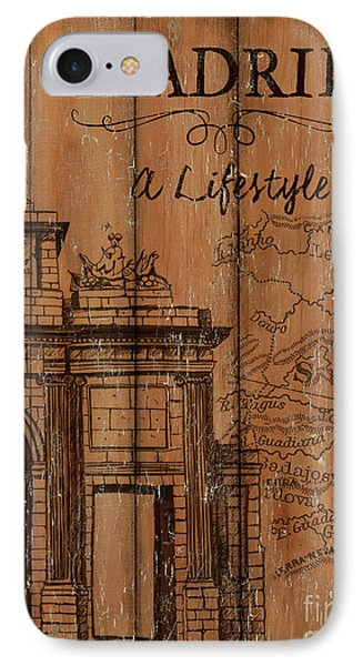 IPhone Case featuring the painting Vintage Travel Madrid by Debbie DeWitt