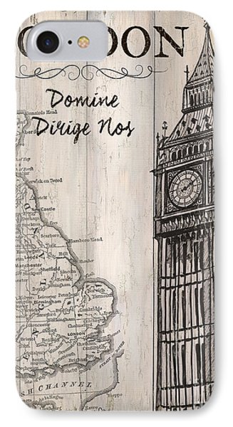 Vintage Travel Poster London IPhone 7 Case by Debbie DeWitt