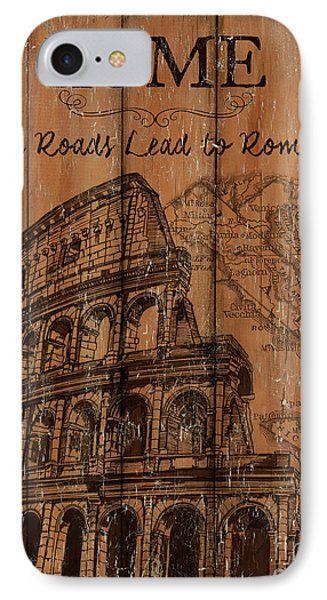 IPhone Case featuring the painting Vintage Travel Rome by Debbie DeWitt