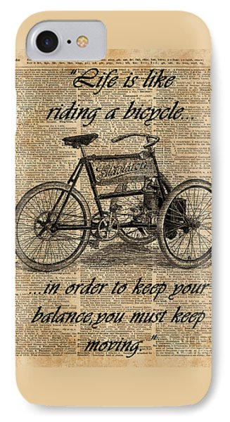 Vintage Tricycle Antique Bicycle Motivational Quote Retro Dictionary Art IPhone Case by Jacob Kuch