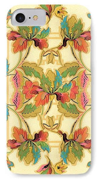 IPhone Case featuring the digital art Vintage Turquoise Orange Floral Wallpaper Pattern by Tracie Kaska